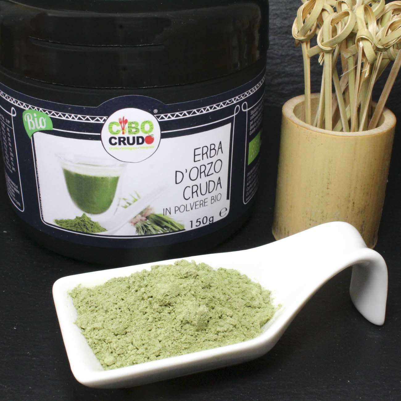 Erba di Orzo<br/>in Polvere Cruda Bio - Barley Grass Powder - 150g